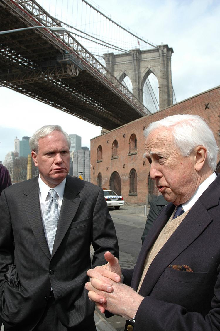 Author David McCullough (R) and City Council Member Tony Avella at a protest in DUMBO. A total of 11,000 signatures have been collected to stop the construction of an 18-story residential tower that will obstruct views. (Sheryl Buchholtz)