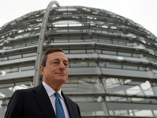 European Central Bank President Mario Draghi stands in front of the Bundestag, Germany's parliament, last week in Berlin.  Johannes Eisele/AFP/Getty Images