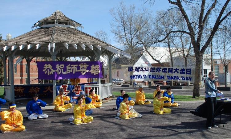 Edmonton Falun Gong practitioners demonstrate the Falun Gong exercises and introduce the public to the meditative practice as part of celebrations for World Falun Dafa Day. (George Qu/The Epoch Times)