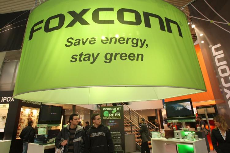 The stand of Taiwanese electronics giant Foxconn at the CeBIT technology fair on March 4, 2008 in Hanover, Germany. (Sean Gallup/Getty Images)