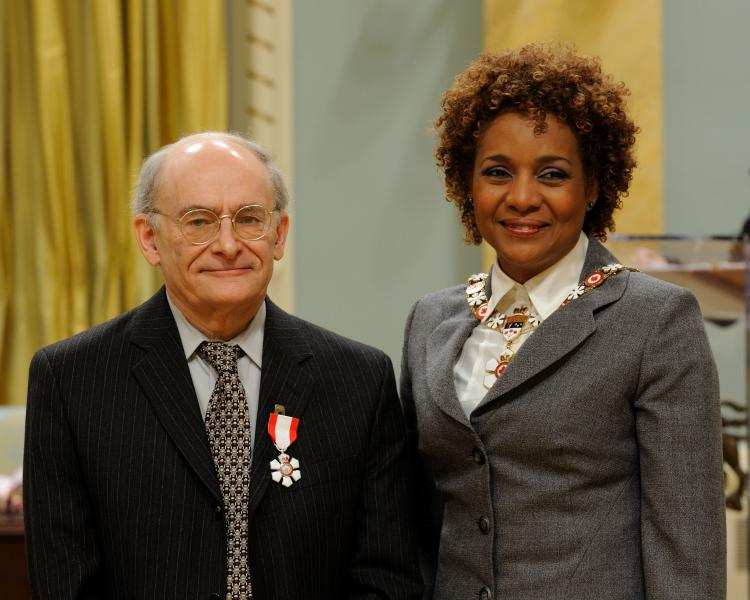 International human rights lawyer David Matas poses with Governor General Michaelle Jean at Rideau Hall in Ottawa on April 7, 2010, after being awarded the rank of Member of the Order of Canada. (Sgt Serge Gouin, Rideau Hall)