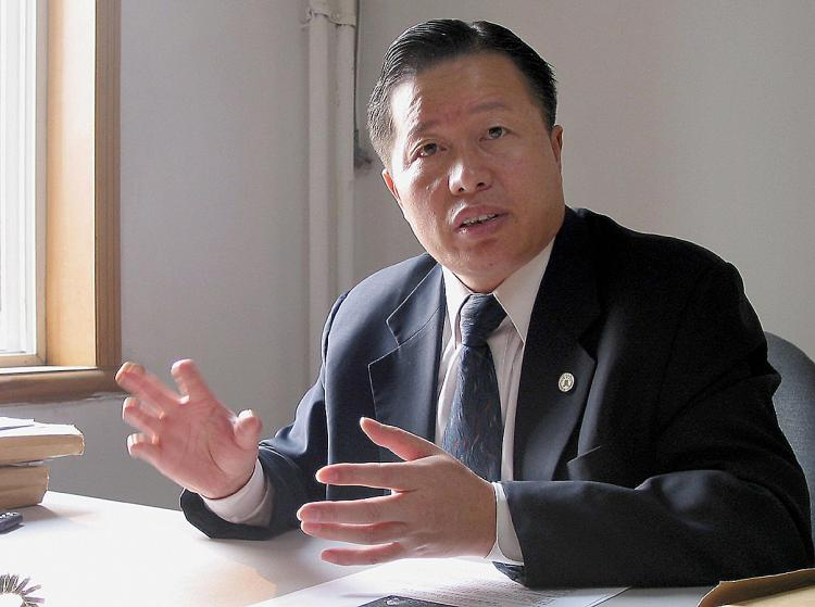 CHINA'S CONSCIENCE: Gao Zhisheng is seen during an interview at his office in Beijing on Nov. 2, 2005. Gao has been arrested several times and been subjected to severe torture, in particular because of his speaking out against the persecution of Falun Gong. (Verna Yu/AFP/Getty Images)