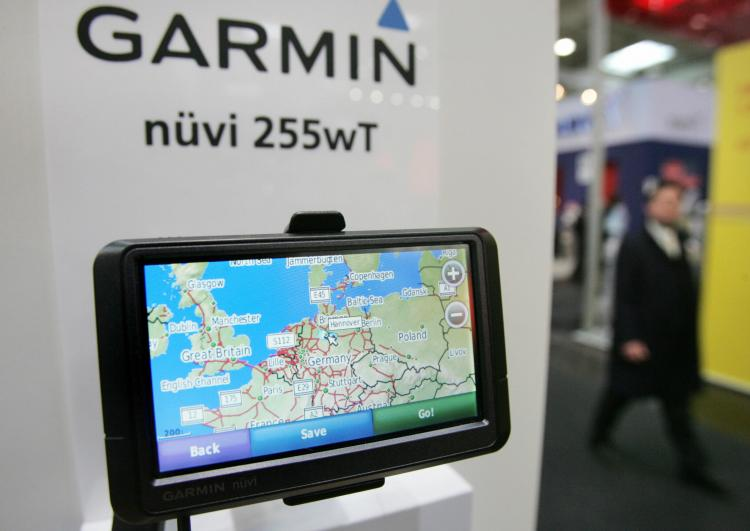 A Garmin Nuevi 255wT GPS navigation system is on display at the Garmin stand at the CeBIT trade fair earlier this year. (JOHN MACDOUGALL/AFP/Getty Images)
