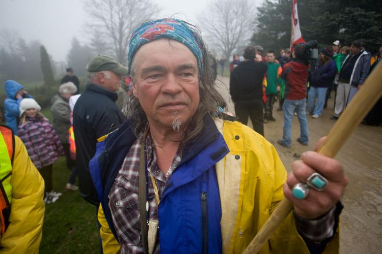 PROTECTING THE LAND: Mohawk environmental activist Danny Beaton took part in a five-day 'walk to stop the mega quarry,' which started at Ontario's Legislature in Toronto on April 22 and ended in Melancthon Township on April 26. (Nick Kozak)