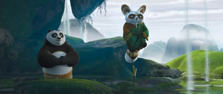 LIFE LESSON: Shifu (Dustin Hoffman, right) teaches Po (Jack Black, left) the value of inner peace in Kung Fu Panda 2. (Courtesy of DreamWorks Animation)