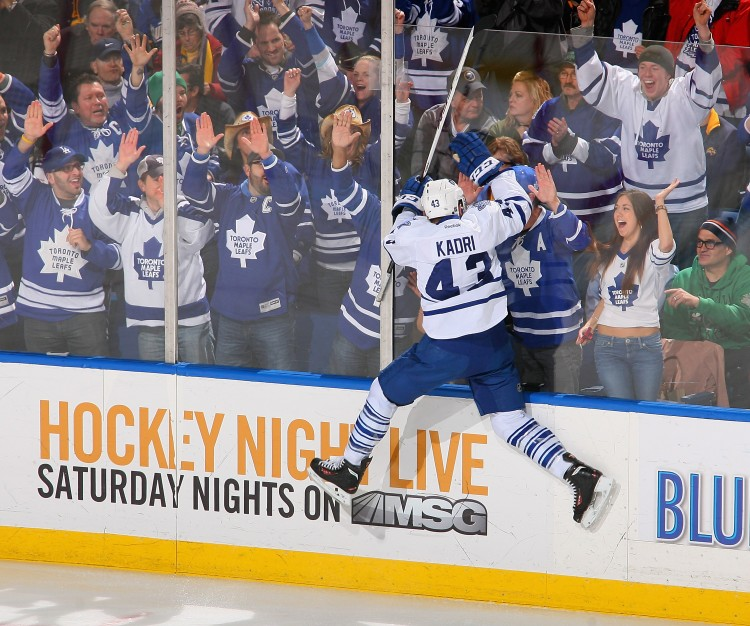 Nazem Kadri of the Toronto Maple Leafs celebrates after scoring in the first period against Buffalo on Mar. 21. Kadri is the Leafs' leading scorer this season. (Rick Stewart/Getty Images)