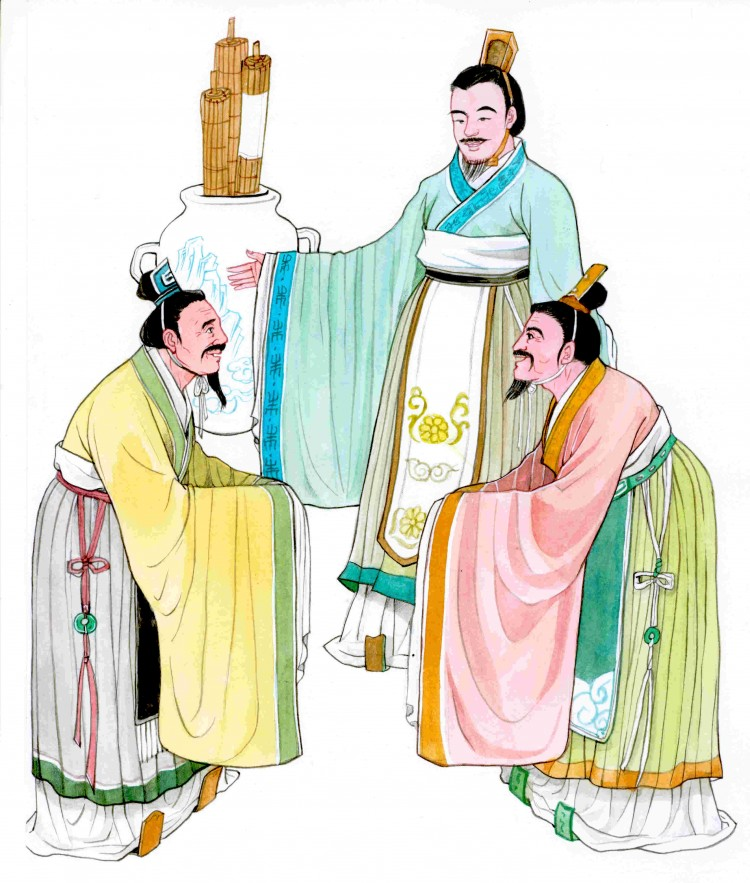 The kings of two neighbouring kingdoms who sought King Wen's judgment for a boundary conflict were so moved by the courtesy, mutual consideration, and gentlemanly conduct of the Zhou people that they both decided to give the disputed land to the other. (Blue Hsiao/The Epoch Times)