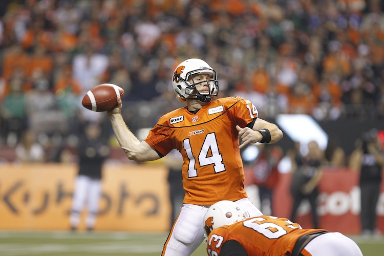 Travis Lulay of the B.C. Lions has gotten a lot of help from his defense this year. (Jeff Vinnick/Getty Images)