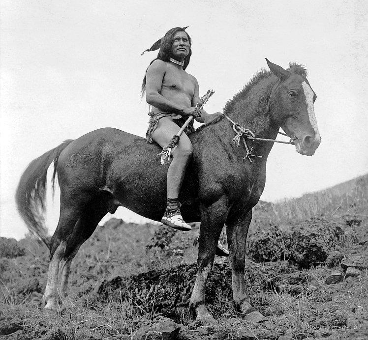Nez Perce man on horseback