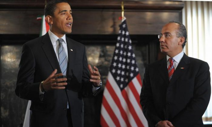 President Barack Obama (L) at a meeting with Mexican President Felipe Calderón on Jan. 12 at the Mexican Cultural Institute in Washington, D.C. (Mandel Ngan/AFP/Getty Images)