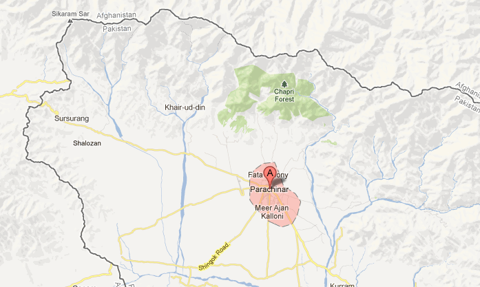 The Parachinar Federally Administered Tribal Area is located in Northwestern Pakistan near the Afghanistan border.  (Google Maps screenshot by The Epoch Times)