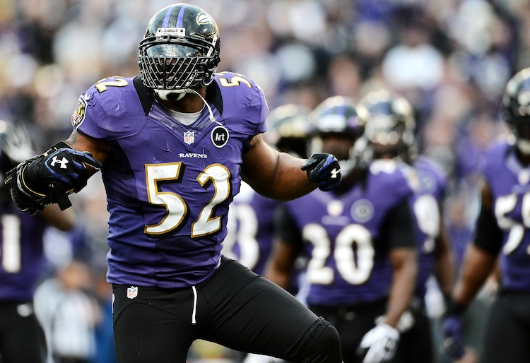 Baltimore Ravens linebacker Ray Lewis in action against the Indianapolis Colts on Jan. 6, 2013. Lewis made a highly successful return from a tricep injury in this AFC wild card game. (Patrick Smith/Getty Images)