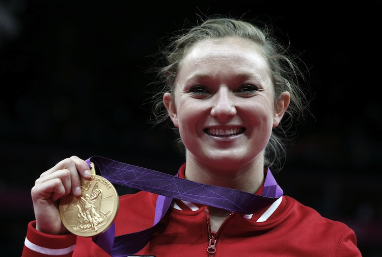 Rosie MacLennan won Canada's first gold medal at the London 2012 Olympics. (Thomas Coex/AFP/GettyImages)