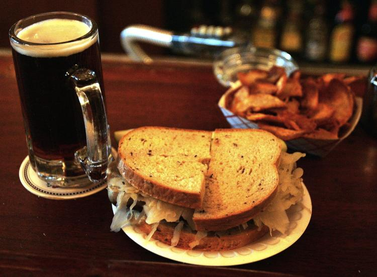 The rye bread in this bratwurst sandwich is a good source of fiber. (Tim Boyle/Getty Images)
