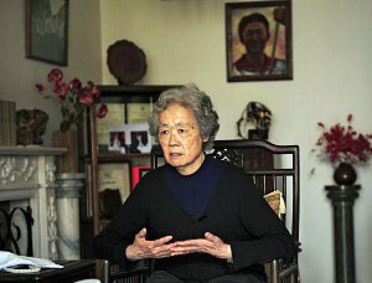 Ms. Ding's son Jiang Jielian was killed in the June 4 Massacre in 1989. Ms. Ding is one of the organizers of the Tiananmen Mothers. (Peter Parks/AFP/Getty Images)