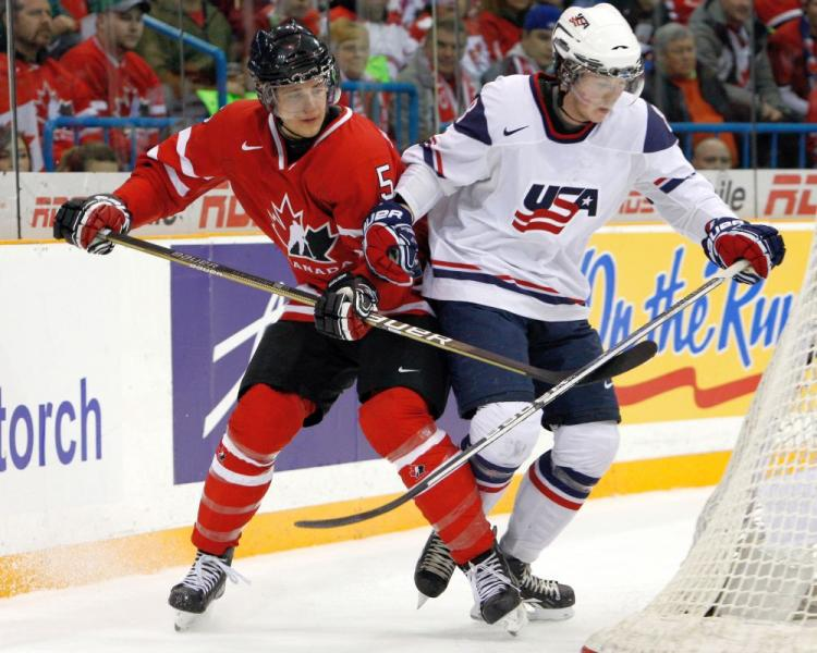 Canada and the U.S. staged a gold medal game to remember with the Americans coming out on top 6-5 in Saskatoon, Canada on Tuesday. (Richard Wolowicz/Getty Images)