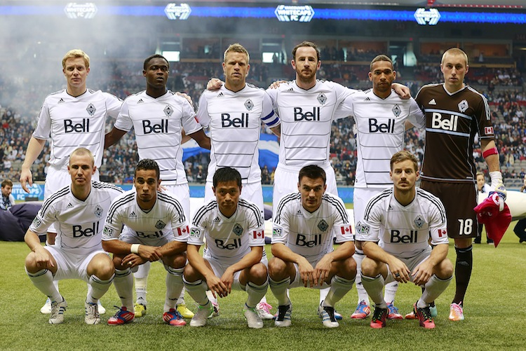 The Vancouver Whitecaps pose before taking on the Portland Timbers in MLS action at B.C. Place in Vancouver on Sunday, Oct. 21. (Jeff Vinnick/Getty Images)