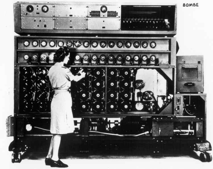 BOMBE: Wary of Germany's rising power, the Bombe machine was invented by the Polish Cipher Bureau prior to World War II in order to decrypt communications sent through the Nazi's Enigma ciphers. (National Security Agency)
