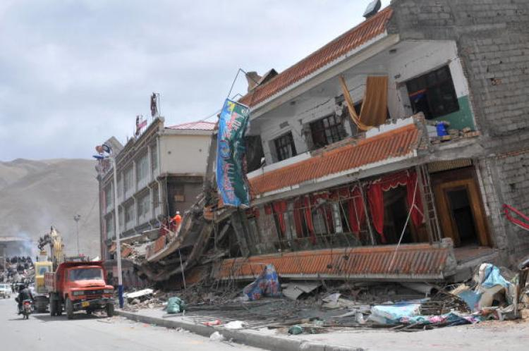 The rubble of a collapsed building, following the 6.9-magnitude earthquake hitting Yushu county. April 15 photo. (STR/AFP/Getty Images)