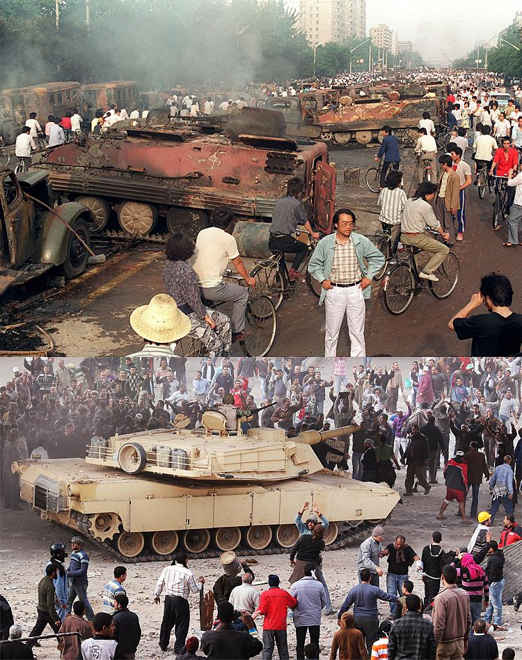 (Top) Beijing residents inspect the interior of some of over 20 armoured personnel carriers left on street after June 4, 1989. (Below)An army tank keeps Supporters of President Mubarak (top) separate from anti-government protesters in Tahrir Square on February 3, 2011 in Cairo, Egypt.  (Manuel Ceneta & Peter  Macdiarmid/Getty Images)