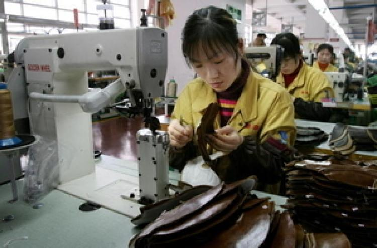 A shoe factory in Wenzhou City.  (Mark Ralston/AFP/Getty Images )