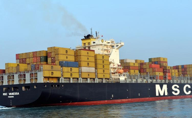 TRADE BULLY: The MSC Vanessa cargo container ship arrives at the port of Hong Kong to make a port call in this file photo. China is aggressively pursuing the control of world trade, and already controls almost all of the world's trade in rare earth metals.(Laurent Fievet/Getty Images)