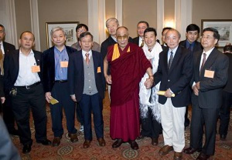 The Dalai Lama met with over 120 pro-democracy activists, scholars and dissidents at the Waldorf Astoria Hotel, in New York on May 5, 2009. (The Epoch Times)