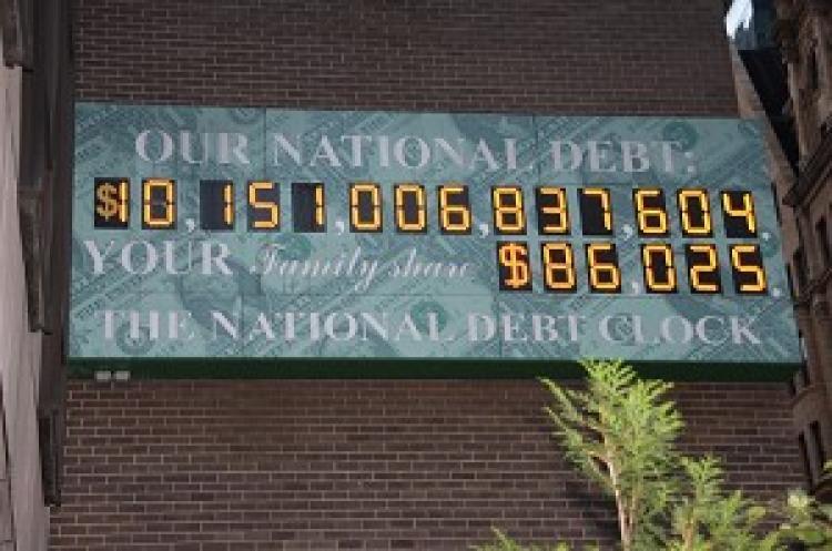 The National Debt Clock. (Wen Zhong/The Epoch Times)