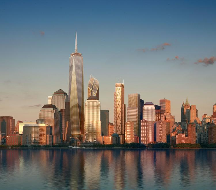 Artist's rendering released September 7, 2006, shows the Manhattan skyline as proposed after the construction of the future buildings in lower Manhattan. (RRP, Team Macarie via Getty Images)