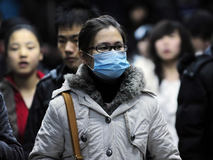 A woman wears a mask in the Beijing subway on December 2, 2009. (Peter Parks/AFP/Getty Images)