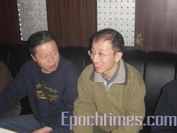 Gao Zhisheng (left) and Hu Jia (right) on December 28, 2005 (The Epoch Times)