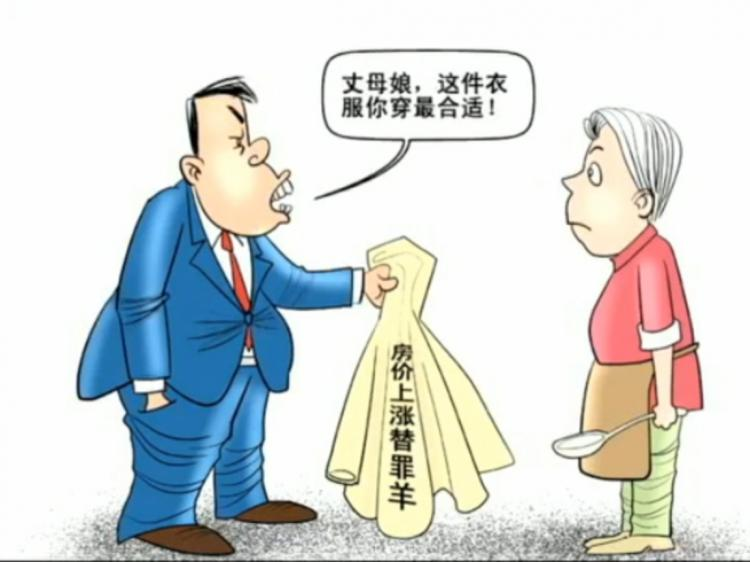 One of the cartoons circulating online making light of Gu Yunchang's remarks.  The man says 'Mother-in-law, this clothing is most suitable for you to wear!' The writing on the clothing says 'Rising houseprice scapegoat.' (NTDTV)