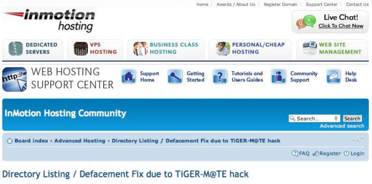 A screenshot from InMotion's 'Defacement Fix due to TiGER-M@TE hack' support page. (Screenshot from Inmotionhosting.com)