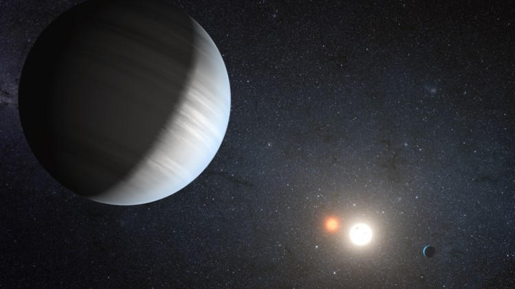 An artist's rendition of the Kepler-47 system, discovered by NASA's Kepler mission. (NASA/JPL-Caltech/T. Pyle)