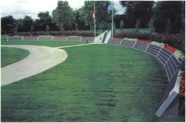 The Korea Veterans National Wall of Remembrance consists of a curved 61-metre polished granite wall containing 516 bronze plaques, one for each Canadian who died in the Korean War. A central bronze feature lists all the Canadian military units that served in the war. (Korean War Veterans Association of Canada)