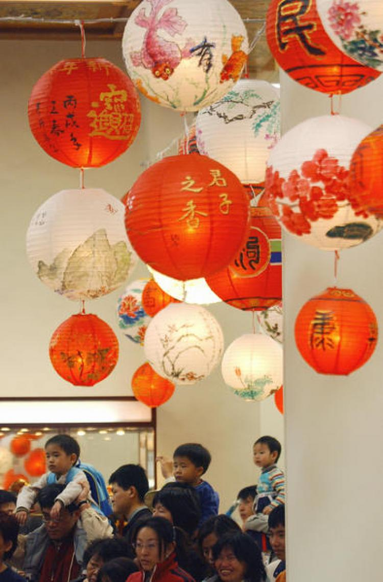Chinese anterns in the Chiang Kai-shek Memorial Hall, Taipei, during a cultural event. (Patrick Lin/AFP/Getty Images)