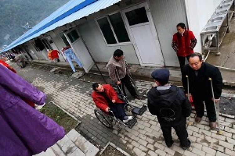 Sichuan earthquake victims dwell in mobile homes such as these. (Getty Image)
