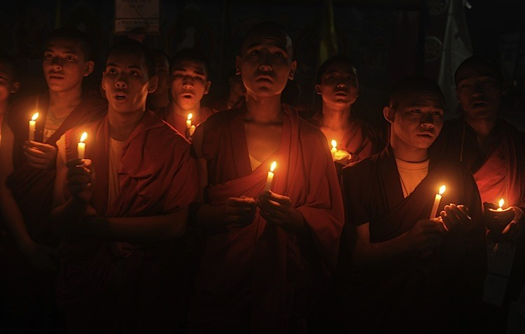 Tibetans living in exile in India launched protests throughout India over Chinese actions in Tibet after a spate of self-immolation's by Buddhist monks and to mark the 50th anniversary of a Chinese attack in India on Oct. 20, 1962. (Diptendu Dutta/AFP/Getty Images)
