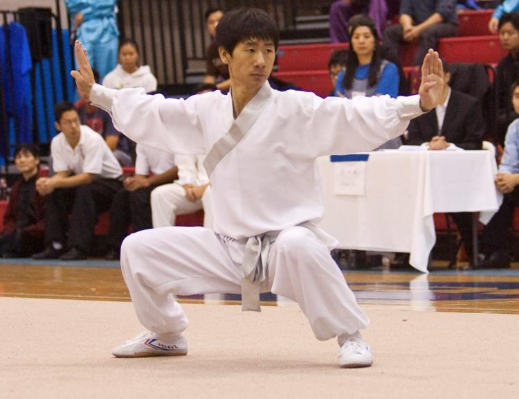 Contestant Kevin Yang practices in the long fist style. (Edward Dai/The Epoch Times)