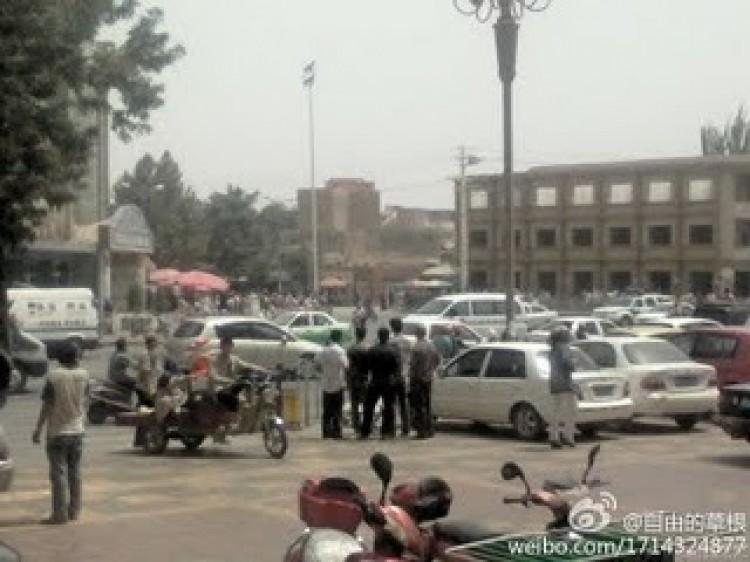 Attackers beset a police station in China's Xinjiang Province, taking hostages, and killing two police officers. Chinese state security forces responded with force, killing 14 people, all of them Uyghurs. (Weibo)