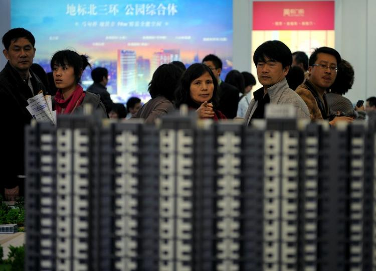 A real estate sales office in Beijing. (Getty Images)