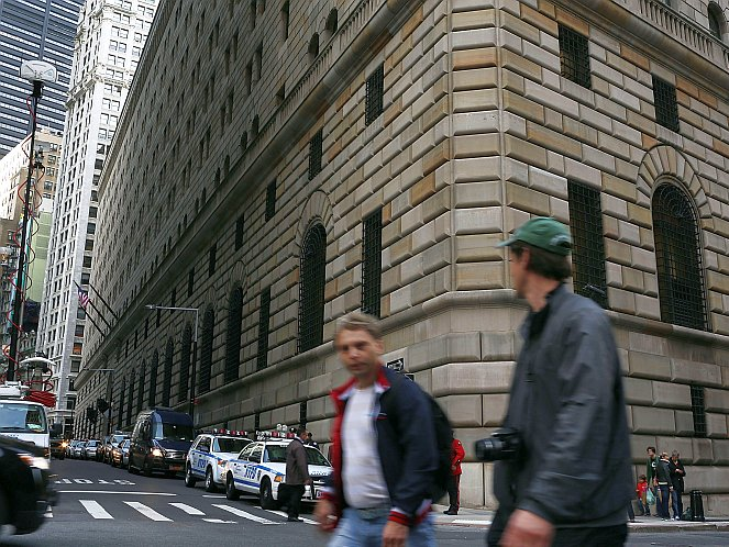 The Federal Reserve Bank of New York is seen on Oct. 17 in New York City. A German governmental body has requested an audit of Germany's gold reserves, much of which is held under the Fed in Downtown Manhattan.  Spencer Platt/Getty Images