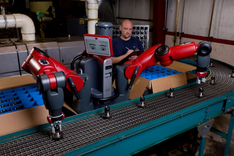 The Baxter Robot performs routine functions side by side with humans at Rethink Robotic's factory in Boston Mass. Courtesy of Rethink Robotics