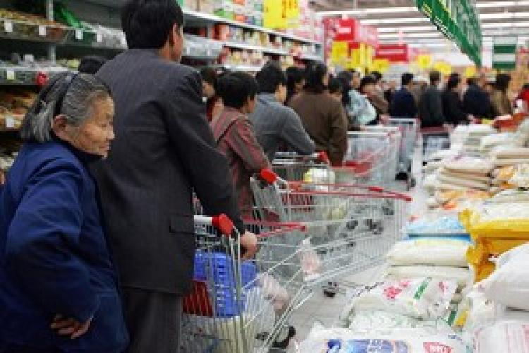 China's Consumer Price Index (CPI) in February dropped 1.6 percent compared to the same period last year, but the price of rice rose 4.4 percent.  (Getty Images)