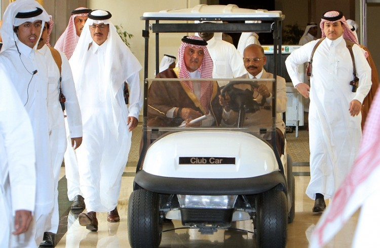 Saudi Foreign Minister Prince Saud al-Faisal (C-L) arrives in a buggy to attend an Arab ministerial committee meeting in Doha to discuss the Syrian crisis on June 2. Qatar and Saudi Arabia have supported competing political interests in the Middle East, writes Giorgio Cafiero. (Karim Jaafar/AFP/GettyImages)