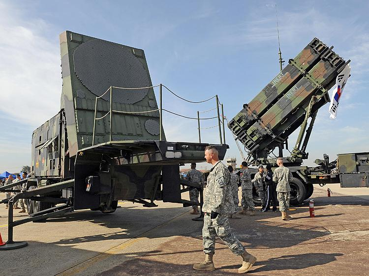 A Patriot missile PAC-3 system on display in South Korea in 2008. Taiwan uses this system for its missile defense, but the functionality of the DF-16, a new missile developed in China, may dramatically reduce its effectiveness, says a Taiwan intelligence expert. (Jung Yeon-Je/AFP/Getty Images)