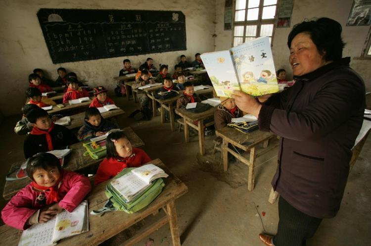 The teachers in the countryside are paid poorly in China, which has become a serious social issue. The photo is of an elementary school in Anhui Province.  (Getty Images)