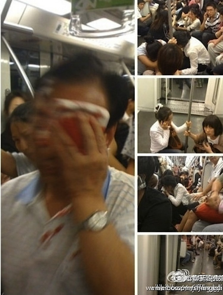 Images on Weibo.com from the Shanghai Subway, following a  rear-end collision in which at least 271 people were injured. (Weibo.com)