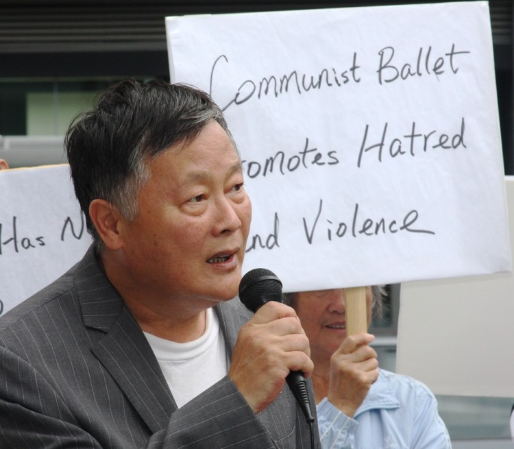 Wei Jingsheng at the rally on Sept. 24, opposing the communist ballet 'The Red Detachment of Women' performing at the Kennedy Center.  (The Epoch Times)