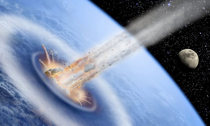 An artist's conception of a giant asteroid hitting early Earth. (puchan/iStock)